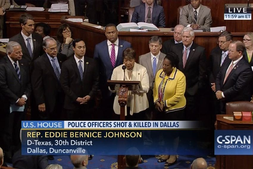 U.S. Rep. Eddie Bernice Johnson, D-Dallas, is flanked by members of the Texas congressional delegation in Washington, D.C. on July 8, 2016, hours after a sniper attack in Dallas killed several police officers.