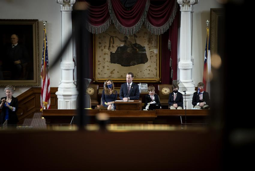 Newly-elected Speaker of the House Dade Phelan addresses the House Floor on opening day of the 2021 Legislative Session on J…
