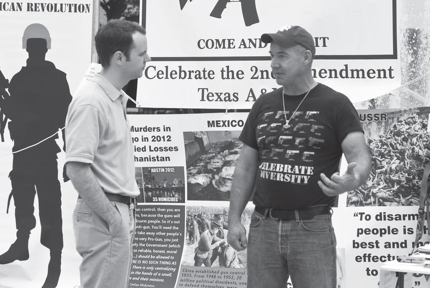 Preston Wiginton, right, during a celebration of Second Amendment Day he organized on the Texas A&M University campus in 201…