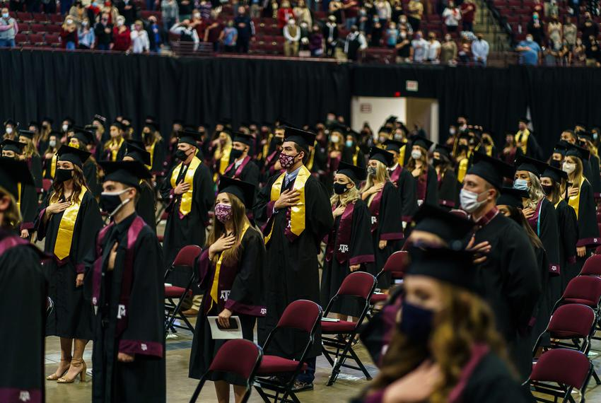 Graduates at a Texas A&M University commencement ceremony at Reed Arena in College Station on Dec 17, 2020.