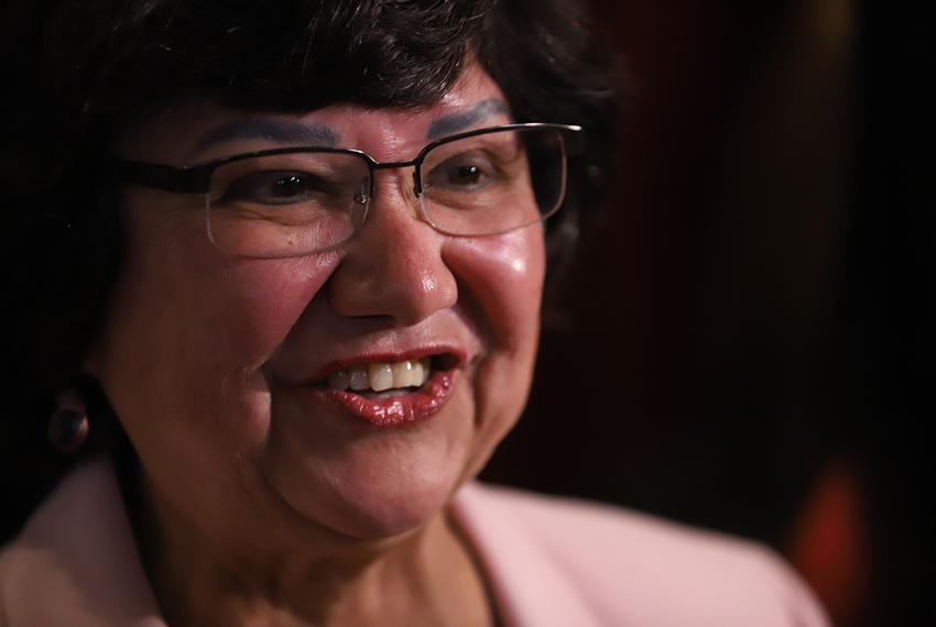 Lupe Valdez gives her victory speech after defeating Andrew White in the Democratic runoff for governor on Tuesday, May 22...