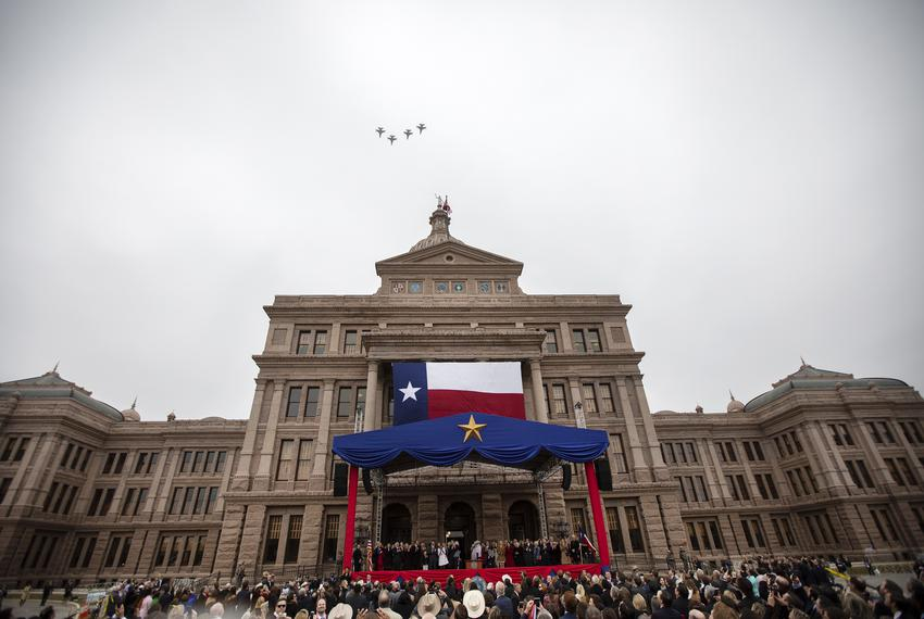 Air Force fighter planes fly over the state capitol during the Oath of Office Ceremony. Lt. Governor Dan Patrick and Governo…