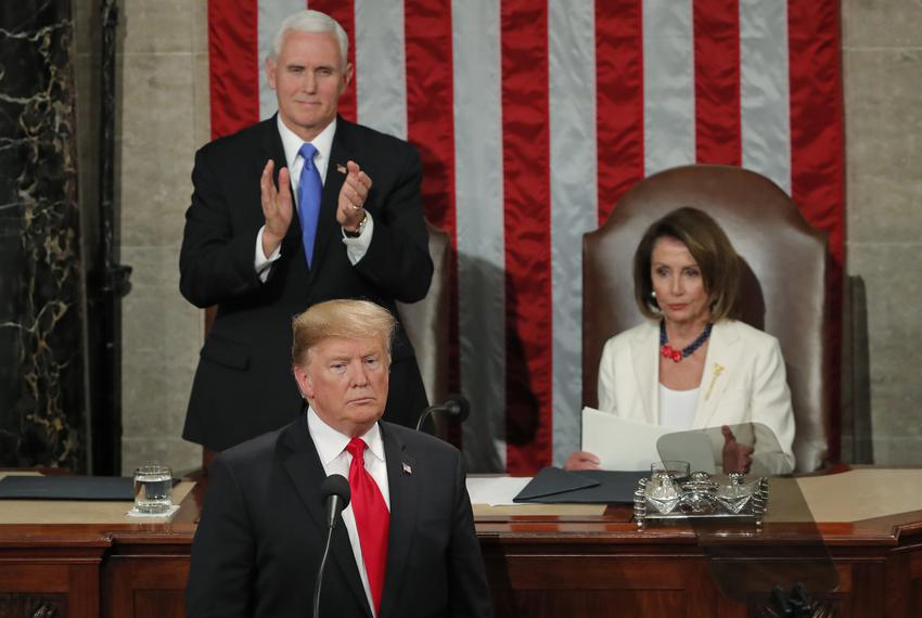 President Donald Trump delivers his State of the Union address to a joint session of Congress on Capitol Hill in Washington,…