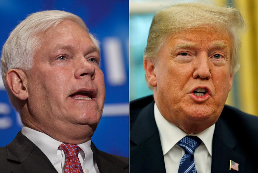 U.S. Rep. Pete Sessions, R-Dallas, and President Donald Trump.