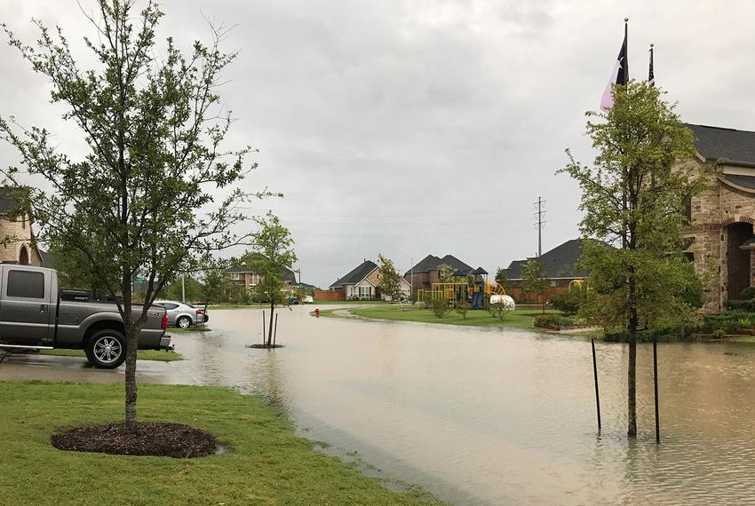 Flooding in a Clear Lake neighborhood from heavy rains after Hurricane Harvey on Aug. 27, 2017.