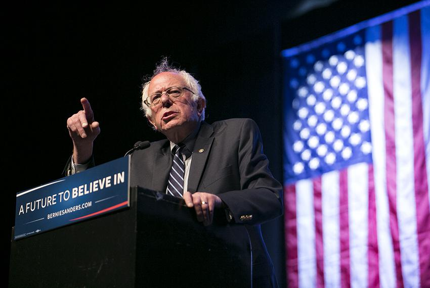 Bernie Sanders speaks at a rally in Dallas on February 27, 2015.