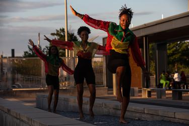 Crystal Aitaegbebhunu and her studio partners run through their choreography for a Juneteenth black empowerment video at Emancipation Park on June 15, 2020.