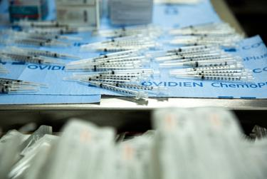Syringes for the COVID-19 vaccine at Doctors Hospital at Renaissance in Edinburg on Dec. 19, 2020.