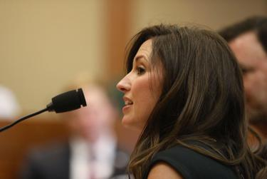 Becky Leach, wife of state Rep. Jeff Leach, R-Plano, testifies before the Judiciary and Civil Jurisprudence Committee on April 8, 2019. Rep. Leach is chairman of the committee.