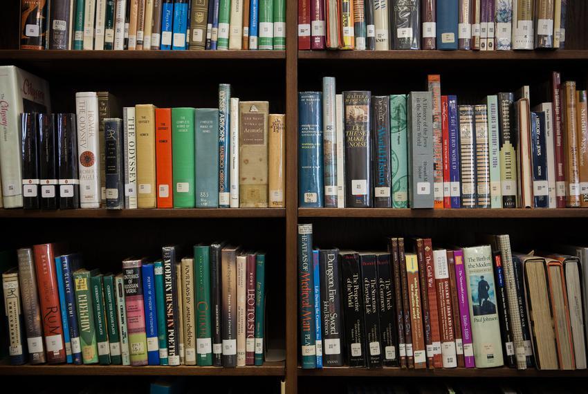 Books at McCallum High School in Austin on Jul. 31, 2013.