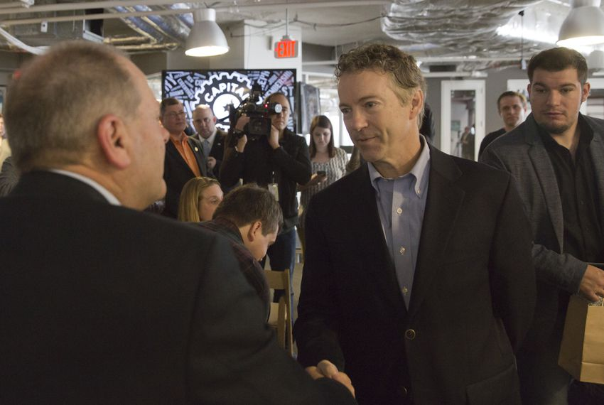 Sen. Rand Paul speaks to supporter after briefly addressing public at the opening of his new office at the downtown Austin, Texas incubator Capital Factory on March 16th, 2015