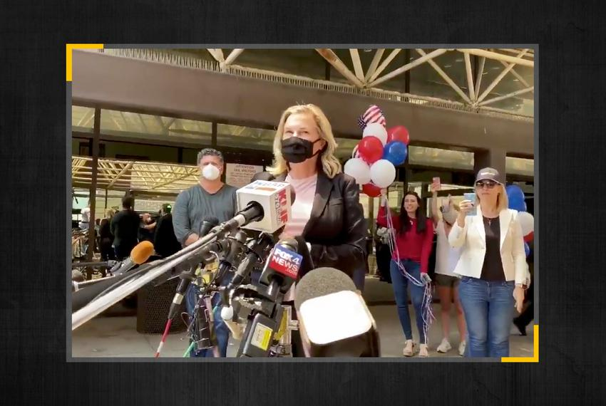 Shelley Luther after being released from jail in Dallas.