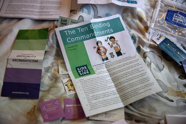 Atticus Sandlin owns a variety of pamphlets, stickers, contraception, and various informational resources to provide to anyone who needs them.