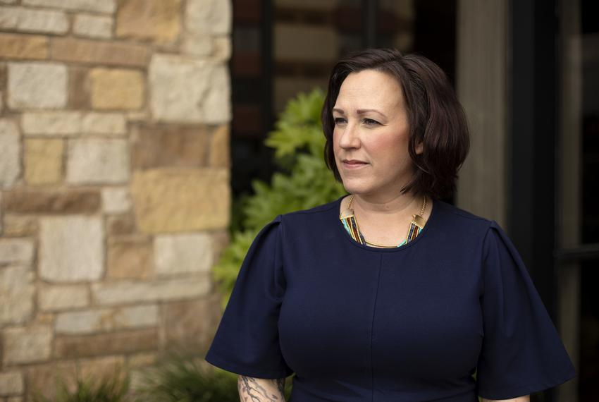 Democratic candidate for U.S. Senate MJ Hegar at the Wyndham Garden Hotel in Austin on Feb. 8, 2020.