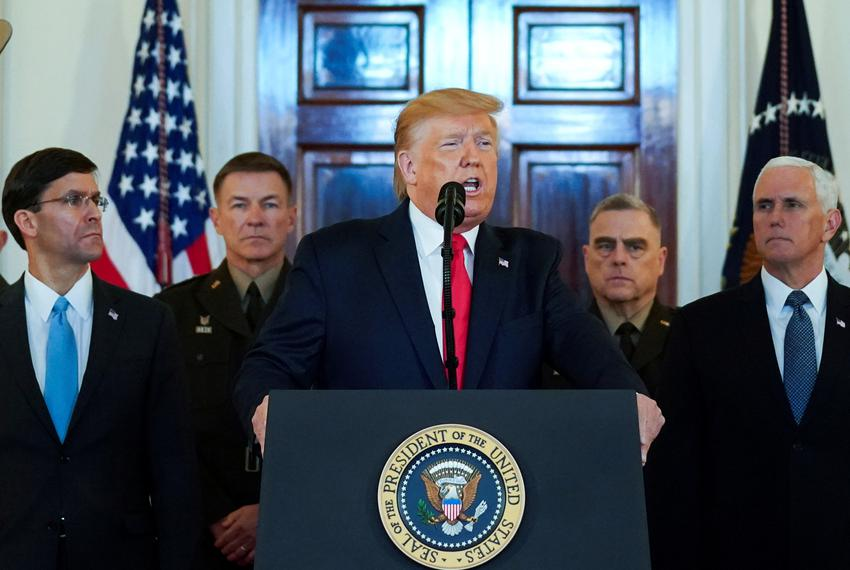 U.S. President Donald Trump delivers a statement about Iran at the White House in Washington D.C. on Jan. 8, 2020.