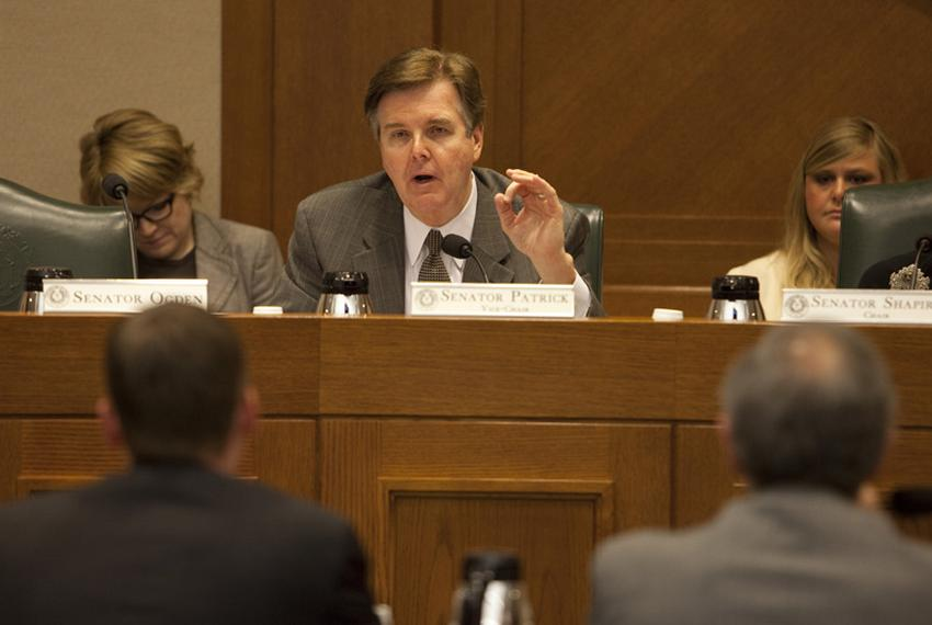 State Sen. Dan Patrick, R-Houston, speaking during a Senate Committee on Education hearing on July 20, 2010.  He is the Vice…