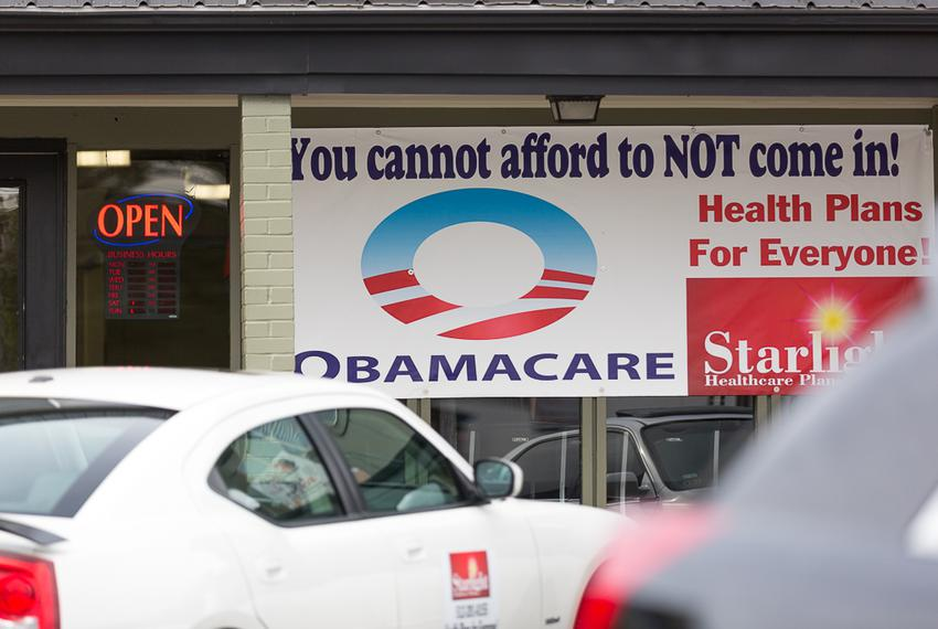 Obamacare sign in east Austin on Dec. 1, 2015.