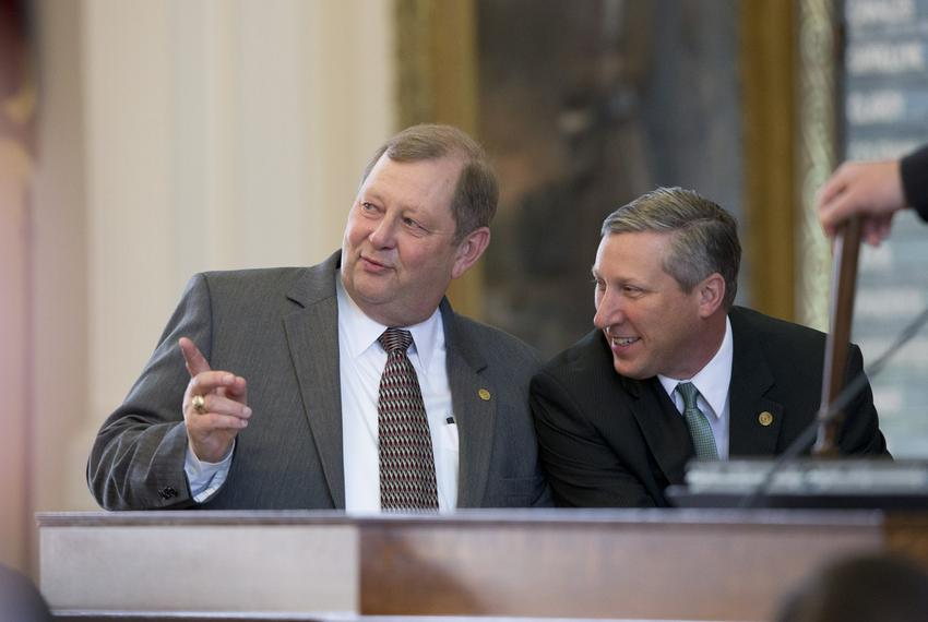 House Appropriations Committee chair John Otto, R-Dayton,l, and State Rep. Drew Springer, R-Gainesville, listen to amendment…