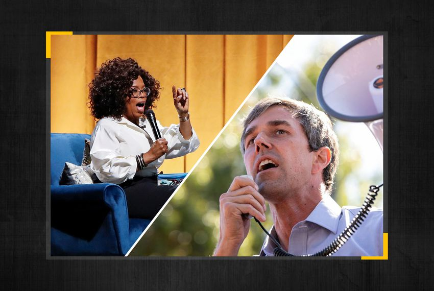 Talk show host Oprah Winfrey and former U.S. Rep. Beto O'Rourke.