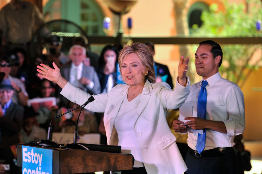Democratic presidential frontrunner Hillary Clinton addresses supporters during an October campaign rally in San Antonio. Her campaign announced Wednesday it had hired its first Texas staffers.