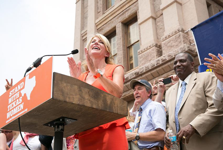 Sen. Wendy Davis addresses the Stand with Texas Women Rally crowd at the State Capitol the first day of the 2nd special se...