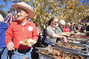 After Abbott and Patrick were sworn in, barbecue — and lots of it — was served on the Capitol's West Lawn.