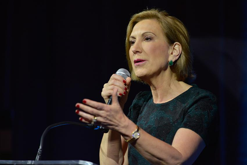 Republican Presidential candidate Carly Fiorina speaks to the National Organization of Women Business Owners meeting in Sa...