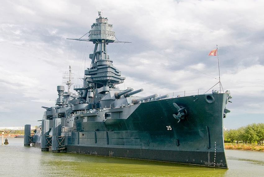 The Battleship Texas is currently docked in the Houston Ship Channel in LaPorte.