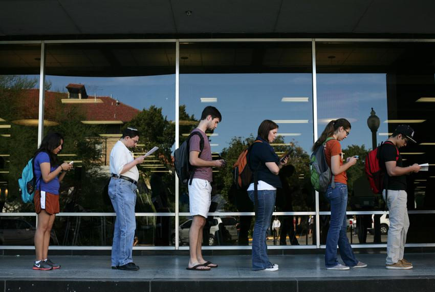 Voters wait in line to cast their ballots at the Flawn Academic Center on the University of Texas at Austin campus on Nov. 6…