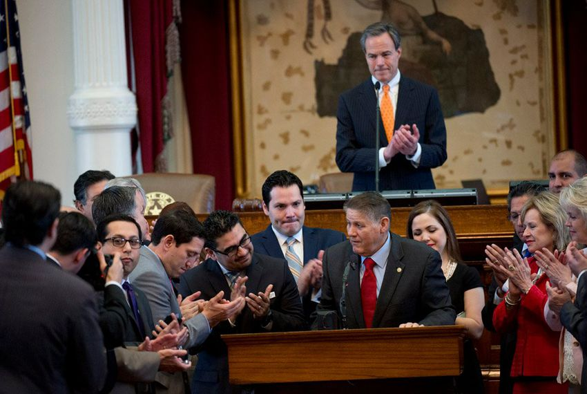 State Rep. Joe Farias announces his retirement in front of the Texas House on June 1, 2015.
