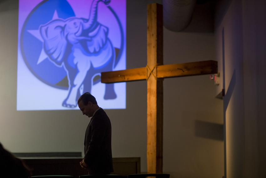 """Jared Woodfill prays at a """"Take Back Our Party"""" event  in Spring on Jan. 26, 2016. Woodfill, who is running for Texas Repu..."""