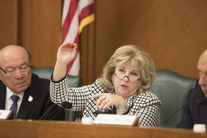 State Sen. Jane Nelson, R-Flower Mound, explains the benefits of Senate Bill 19 during a Saturday meeting of the Senate Finance Committee on July 22, 2017.