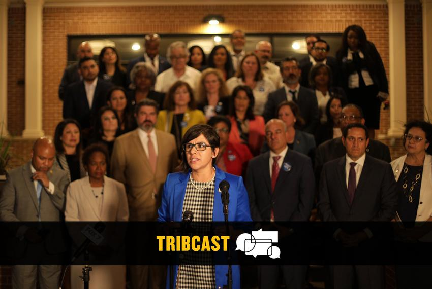 State Rep. Jessica González, D-Dallas, speaks at a press conference at Mt. Zion Baptist Church near the state Capitol in Aus…
