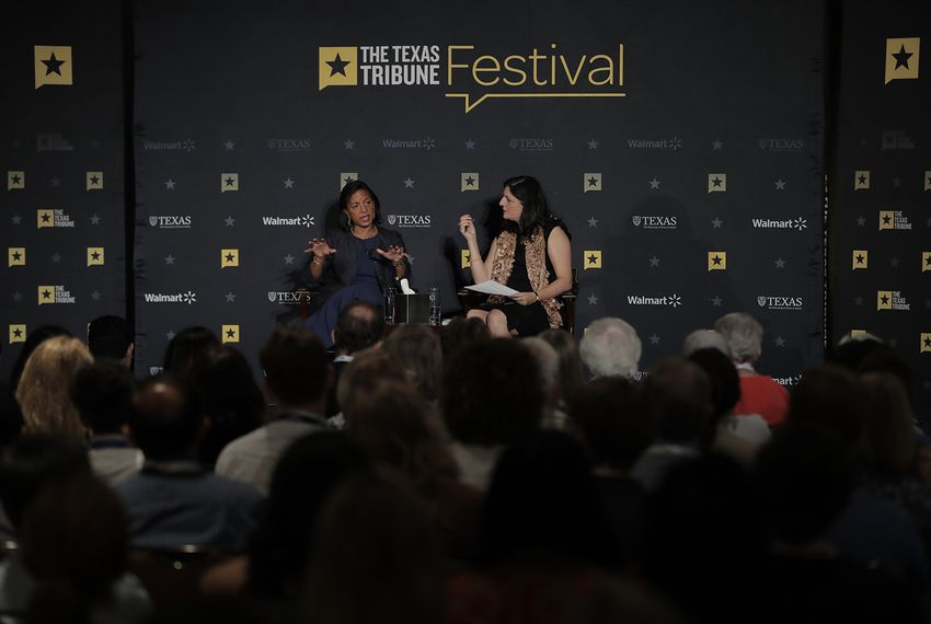 Former U.S. Ambassador to the United Nations and former National Security Advisor Susan Rice talks about national security with Boston Globe columnist Indira Lakshmanan at The Texas Tribune Festival on Sept. 23, 2017.