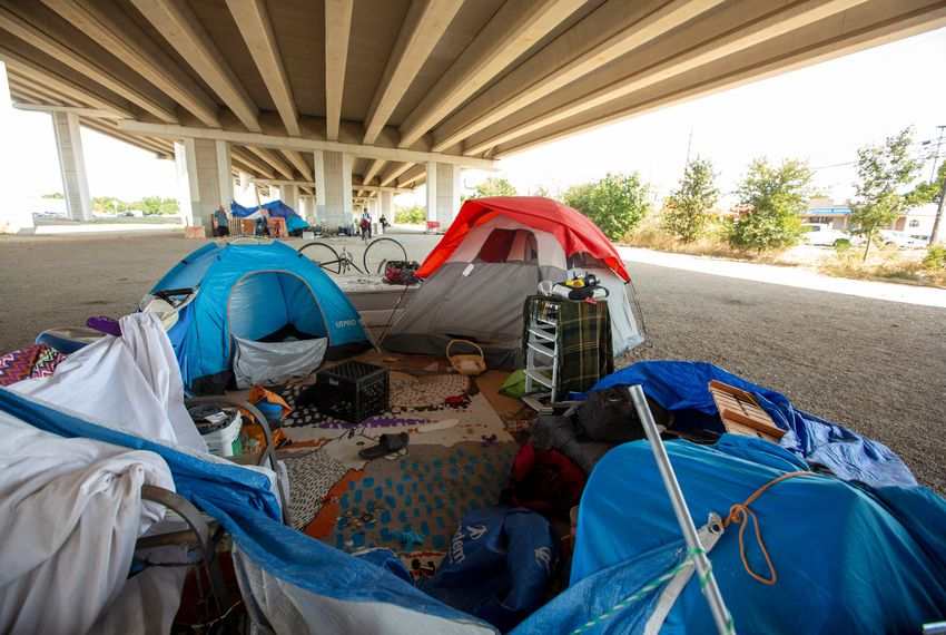 Area under Highway 290 in South Austin where several homeless people have set up camp on Aug. 2, 2019