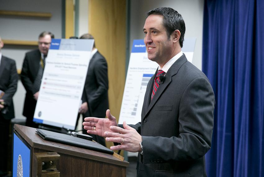 State Comptroller Glenn Hegar releases the revenue estimate on Jan. 12, 2015 to reporters and state officials the day before…