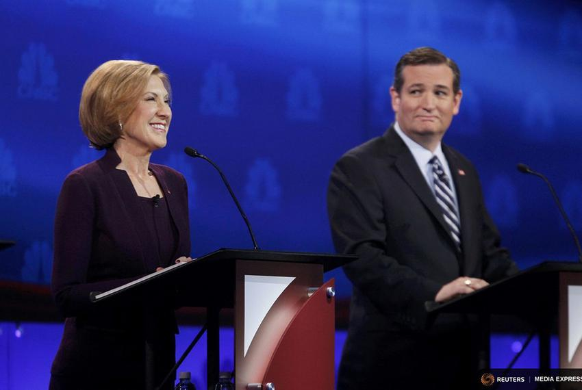 Carly Fiorina and Ted Cruz took part in the third debate among Republican presidential candidates in Boulder, Colorado, on O…