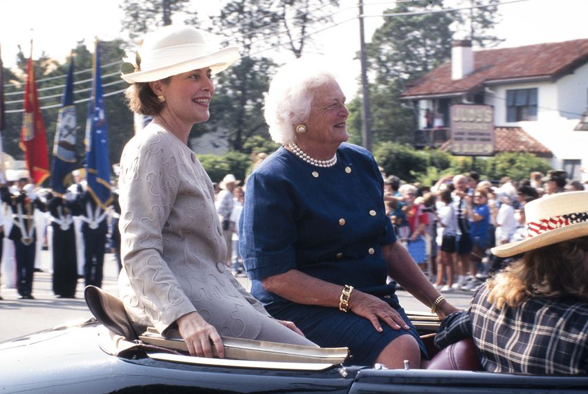 Former first lady Barbara Bush and daughter-in-law Laura Bush attend a dedication at the Nimitz Museum in Fredricksburg on Sept. 6, 1995.