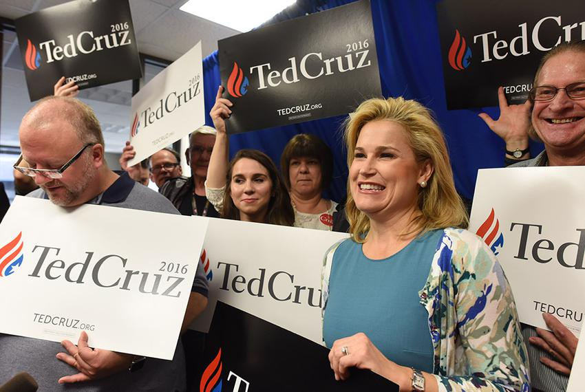 Heidi Cruz, wife of U.S. senator and presidential candidate Ted Cruz, with supporters at Republican Party of Texas headqua...