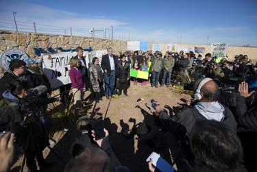 Left to right: U.S. Sen. Tina Smith, D-Minnesota, U.S. Rep. Beto O'Rourke, D-El Paso, U.S. Sen. Mazie Hirono, D-Hawaii, U.S. Sen. Jeff Merkley, D-Oregon, and U.S. Rep. Judy Chu, D-California, speak to the press after touring the tent city that holds thousands of immigrant children, in Tornillo on Dec. 15, 2018.