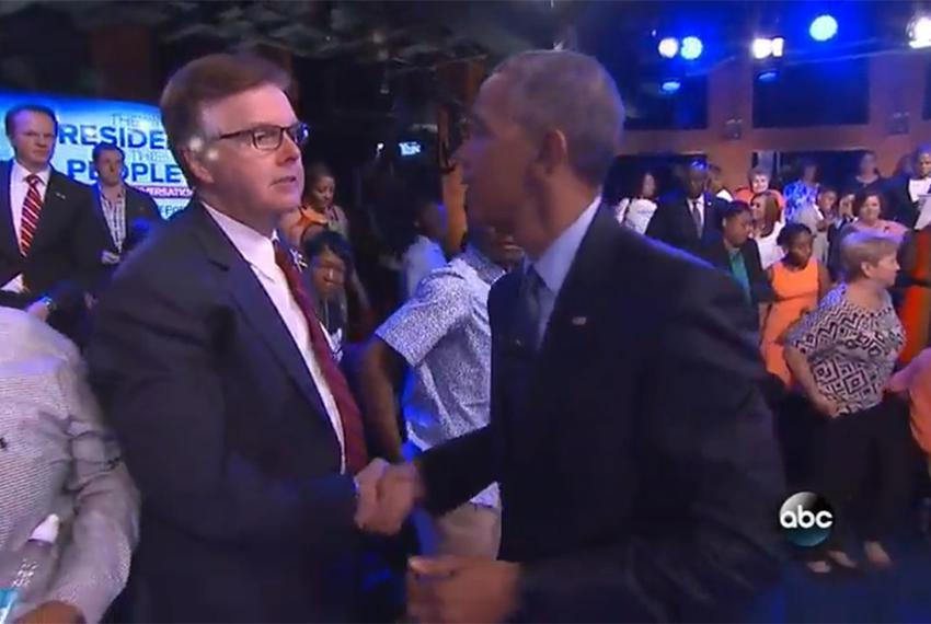 "Texas Lt. Gov. Dan Patrick and President Barack Obama shake hands after the ""People Town Hall: A National Conversation,"" a..."
