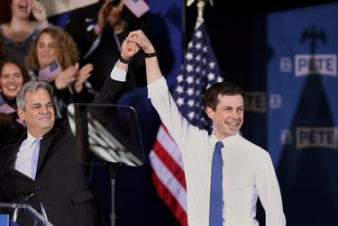 South Bend's Mayor Pete Buttigieg appears with Austin Mayor Steve Adler during a rally to announce Buttigieg's 2020 Democratic presidential candidacy in South Bend, Indiana on April 14, 2019..