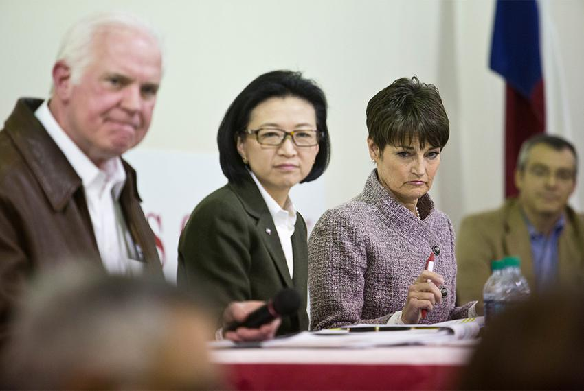Senate District 25 candidates Mike Novak, Elise Chan, and freshman Sen. Donna Campbell wait to respond to a panel question a…