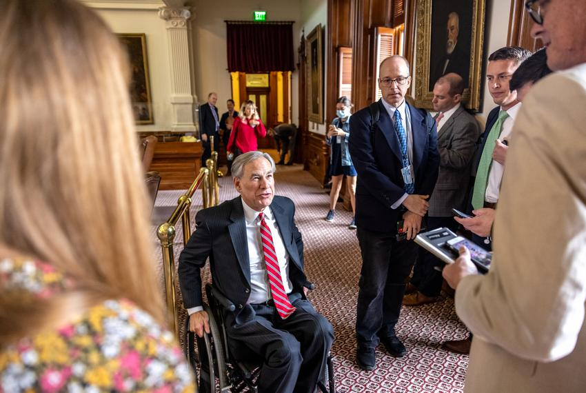 Gov. Abbott declines to take questions from reporters during the legislative session on the house floor on Sunday, May 23, 2…