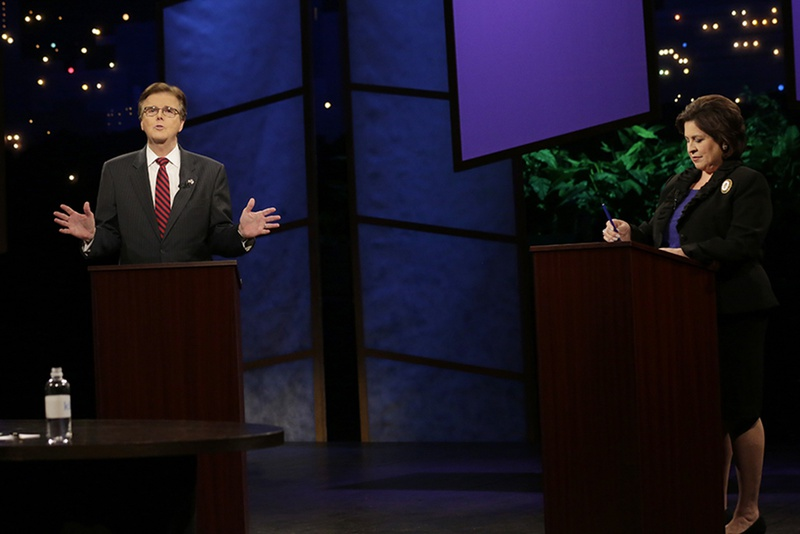State Sens. Dan Patrick, R-Houston, and Leticia Van de Putte, D-San Antonio, the candidates for lieutenant governor, debated in Austin on Sept. 29, 2014.