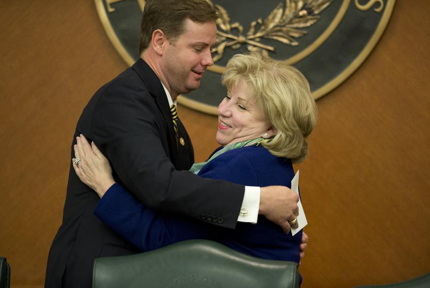 State Rep. Trent Ashby, R-Lufkin, and Chairman Sen. Jane Nelson, R-Flower Mound, embrace prior to Wednesday's Joint Committe…