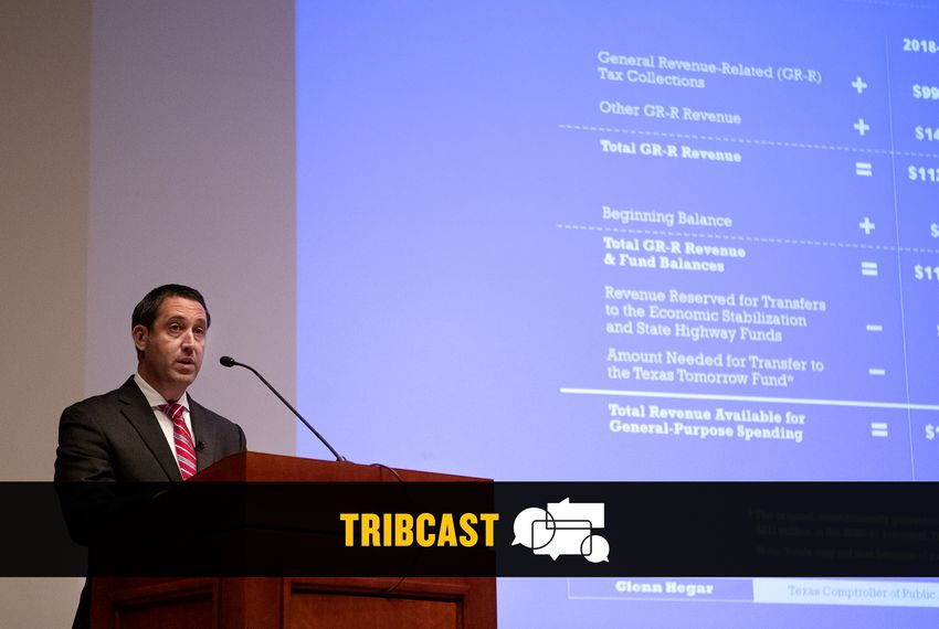 Comptroller Glenn Hegar discusses the Biennial Revenue Estimate for the 2020-21 biennium at the state Capitol on Jan. 7, 2019.
