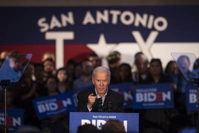 Democratic presidential candidate and former Vice President Joe Biden speaks at a community event in San Antonio on Dec. 13, 2019.