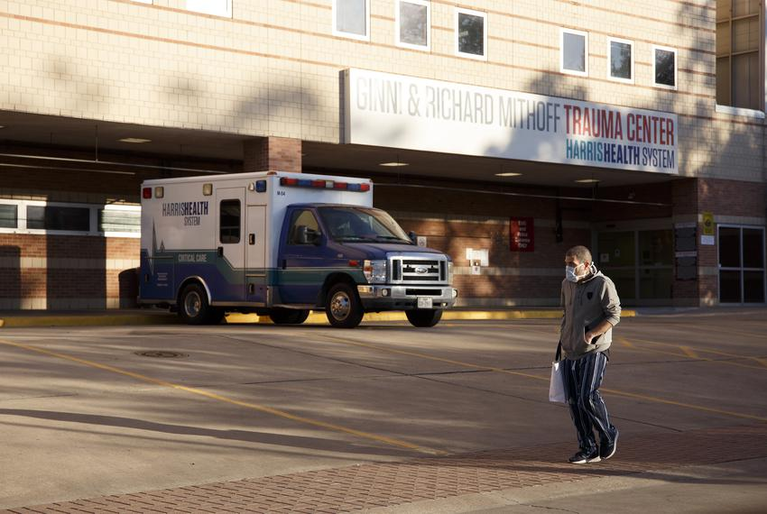Outside the trauma center at Ben Taub Hospital in Houston on April 1, 2020.