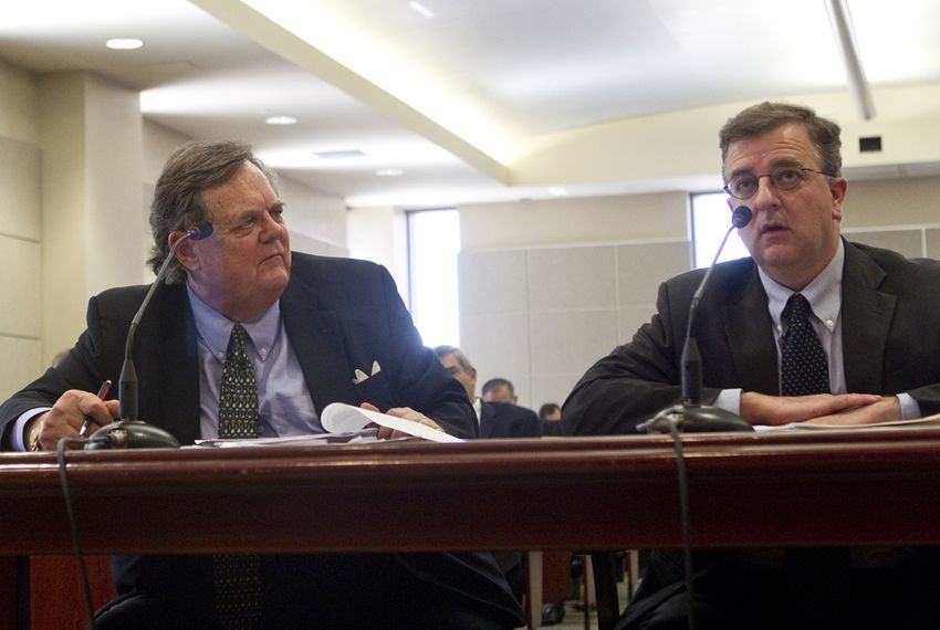 UT Law school foundation president John H. Massey, looks over to UT Law school Dean Ward Farnsworth during a House Committee hearing on Transparency in state agency operations on March 12th, 2013